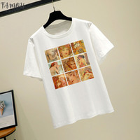 Wholesale arts oil paintings woman resale online - Alphonse Mucha Vintage Art Oil Painting Flower Women Tops Tee New Summer Casual Fashion Top Short Sleeve Women T Shirt