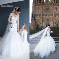 Wholesale simple elegant wedding tulle mermaid dresses resale online - 2019 Elegant Mermaid Wedding Dress V Neck and Long Sleeves Backless Tulle Bridal Gowns Sexy Bride Dresses