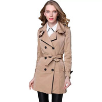 черные пальто для женщин оптовых-2018New Fashion Designer  Classic European Trench Coat khaki Black Double Breasted Women Pea Coat real photos free shipping