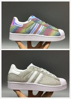 sapatos deslumbrantes para as mulheres venda por atacado-Big Originals Sapatos Masculinos Para Sapatos Femininos Sapato Branco Laser Dazzle Cor Superstar Shell Cabeça sapatos casuais Frete Grátis 2017