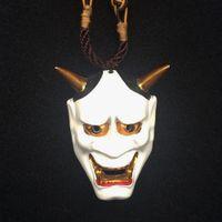 Wholesale mask pendants resale online - Resin Horror Hannya Mask Pendant Necklace Women Men Halloween Cosplay Pendant Creative Choker Necklace Costume Accessories