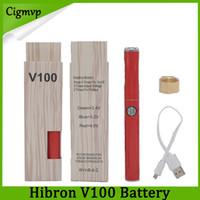 vape pen batterie designs großhandel-100% Original Hibron V100 VAPE Akku 650mAh Vorheizen mit variabler Spannung Diskreter Vape-Stift mit USB-Ladegerät Neuester Batteriemodus