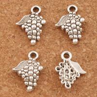 componentes de jóias venda por atacado-Encantos de uva pingentes 200 pçs / lote 18x12.8mm achados de jóias de prata antiga produção pulseiras colar melhor amigo presente