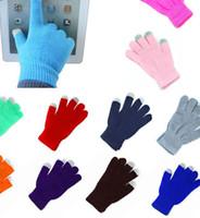 Wholesale tablet touchscreen resale online - Women Winter Knit Touch Screen Gloves Smart Phone Tablet Men Full Finger Mittens Touchscreen Gloves KKA7504