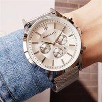 correas de reloj azul al por mayor-Reloj maserati de lujo para hombres Banda de acero fino reloj de cuarzo para negocios de ocio relojes de diseñador para hombre Dial azul montre homme Envío gratis