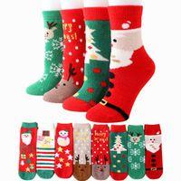 samt weihnachtsstrümpfe großhandel-Damen dickes Handtuch Coral Velvet Socken Alter Mann Warm Halb Velvet Erwachsener Weihnachtsstrümpfe verdickte Innen Socken ZZA1294 60pcs