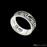 anéis vintage venda por atacado-2020 New high quality Width 6mm fashion brand vintage ring engraving couples ring wedding jewelry gift