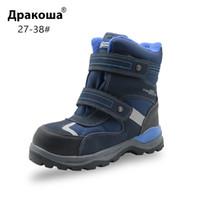 tiras meteorológicas venda por atacado-Apakowa inverno botas de neve do menino à prova d 'água para crianças tempo frio calçados esportivos para menino botas de lã quente com tira reflexiva
