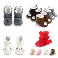 Wholesale baby girl crochet cotton booties resale online - Baby Winter Boots Infant Toddler Newborn Cartoon Bear Shoes Girls Boys First Walkers Super Keep Warm Snowfield Booties Boot