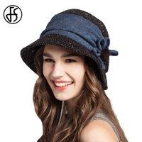 disket şapka çiçekleri toptan satış-FS Kış Kadınlar Floppy Çiçekler Yün Kepçe Hat Siyah Haki Turuncu Kadınlar Moda Balıkçı Cap Sıcak Kadın Casual Şapka tutun