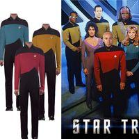 nächstes rot großhandel-Star Trek TNG Jumpsuit Uniform Cosplay Rot Blau Gelb The Next Generation Costume Badge Full Set