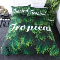 juegos de cama de árbol rey al por mayor-Tropical Bedding Set Hoja Verde reina funda nórdica hojas de las plantas Tree Bed mayor de la cubierta Botánico 3pcs Colchas