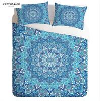 funda de almohada floral azul al por mayor-XYZLS 3 UNIDS Juego de cama de estilo bohemia con estampado floral azul Funda nórdica Fundas de almohada Doble / Completa / Reina / King Size Textiles para el hogar