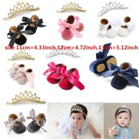 Wholesale headband shoes for babies for sale - Group buy 2019 new baby shoes with headband for girl infant leather sneakers with rabbit ear headband leather sole for baby girl