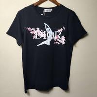 femmes fleurs de cerisier achat en gros de-Été 2019 Tee-shirt pour femme d'été avec impression de fleurs de cerisier France Motif Blanc Couleur noire Disponible en gros S-XL