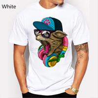 verrückte katzen großhandel-Neue Ankunft Herrenmode Crazy Dj Cat Design T-Shirt Coole Tops Kurzarm Hipster T-Shirts