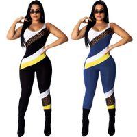 Wholesale wide leg jumpsuit backless resale online – Women Summer Jumpsuit Sleeveless Backless Rompers Skinny Leggings Patchwork Tank Jumpsuit Body Suit One Piece Clothes Sports Tracksuit B3122