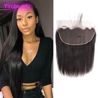 13 schließung großhandel-Malaysian 13X6 Lace Frontal Ohr zu Ohr unverarbeitetes Menschenhaar Top Verschlüsse gerade frei Teil 13 von 6 Frontal Virgin Hair natürliche Farbe