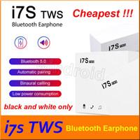 ingrosso auricolari bianchi bluetooth blu-Cuffie Bluetooth I7S TWS Twins con scatola caricabatterie Auricolari wireless Cuffie per IOS Iphone X Android con confezione al dettaglio bianco nero a buon mercato