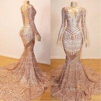 illusion zurück abendkleider groihandel-2019 Rose Gold Langarm Prom Kleider Sexy Open Back Abendkleid V-Ausschnitt Party Kleider BC0841