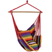 Wholesale outdoor hanging swings resale online - Red Deluxe Hammock Rope Chair Patio Porch Yard Tree Hanging Air Swing Outdoor