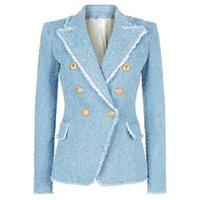 european slim fit fatos venda por atacado-Clássicos europeus 2019 double breasted tassels casaco blazers Moda slim fit casaco mulheres jaquetas Designer Fashion Week Suit Jacket