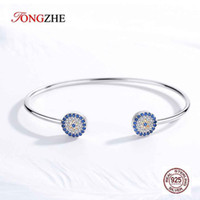 Wholesale bangle turkey resale online - TONGZHE Sterling Silver Evil Eye Bracelet Bangles Blue Eye Designer Bracelets for Women Luxury Snake Chain Turkey Jewelry