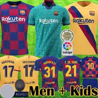 equipamento jersey venda por atacado-2019 2020 barcelona MESSI GRIEZMANN camisas de futebol barca F DE JONG camisa de futebol camisa de futebol novo equipamento 19 20 crianças kits uniforme