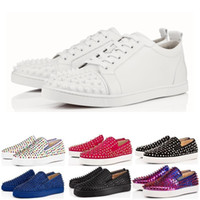 Wholesale black shining shoes for men resale online - Designer luxury fashion Brand Red Bottom Studded Spikes Flats shoes For Men Women black glitter Shining Party Lovers casual Sneakers