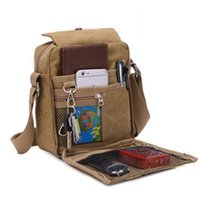 Wholesale canvas military shoulder bags for sale - Group buy Teenager Boys Canvas Leather Satchel School Military Retro Shoulder Bag Messenger BagS multi function Casual Styles Crossbody Bags M717