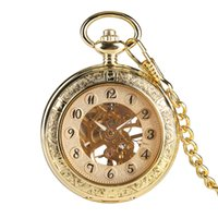 relógios de ouro de luxo venda por atacado-Retro Ouro Mecânica Pocket Watch Mão-Vento Transparente Esqueleto Pingente de Relógio para Homens de Luxo Relógio de Bolso Presentes Unisex