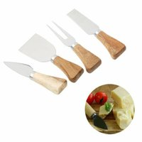 Wholesale cake modelling tool set for sale - Group buy 4pcs a set wood handle cheese knife slicer kit kitchen cook tools cake pizza cheese cutter useful accessories MMA1431