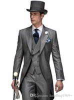 Discount mens morning suits One Button Morning Style Suit Shiny Gray Groom Tailcoat Peak Lapel Mens Wedding Party Suits 3 Pieces Blazer (Jacket+Pants+Vest+Tie) K35