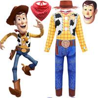 acción de gracias vestir al por mayor-4 niños Capitán Woody Cosplay Ropa Acción de gracias animada Dibujos animados Disfraz de Navidad Halloween Niños Vestirse -up