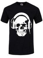 наушники с черепами оптовых-Футболка наушники череп мужская черный cattt ветровка Мопс футболка