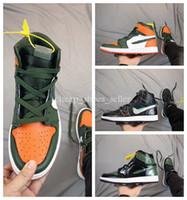 zapatos de baloncesto de color naranja al por mayor-2019 SoleFly x 1 High OG Green Orange-Fir Basketball Shoes para alta calidad 1s Zapatillas deportivas para hombre Zapatillas deportivas tamaño 40-46