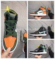basketbol göz toptan satış-2019 SoleFly x 1 Yüksek OG Yeşil Turuncu-Köknar Basketbol Ayakkabıları yüksek kalite için 1 s Erkek Eğitmenler Spor Sneakers e ...