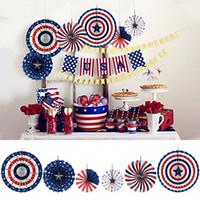 ingrosso ventilatori di carta rossa-6pcs / lot 4th / July Patriotic Decorations USA flag Rosso Bianco Blu Appeso Ventagli di carta Decorazioni per feste