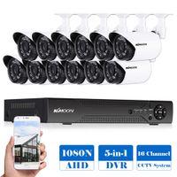 16-кратная система cctv оптовых-KKmoon 16CH 1080P Hybrid Digital Video Recorder + 12*720P AHD Waterproof IR CCTV Camera + 12*60ft Surveillance Cable CCTV System