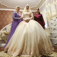 müslüman gelinler için gelinlikler toptan satış-Zarif Müslüman Uzun Kollu Aplikler Gelinlik Balo İslam Kadınlar Gelin Moda Maxi Elbise Özel Petticoat Gelin Elbise ile Yapılan