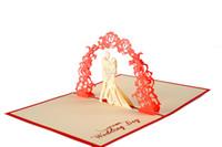 tarjetas hechas a mano para el día de la boda al por mayor-Valentine Day Wedding Invitations Delicacy Gift Handmade Creative 3D Wreath Tarjetas de felicitación Pop Up Regalo W9825