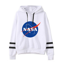 siyah polar hoodie toptan satış-NASA Mektup Baskılı Tişörtü Erkekler Kapşonlu Uzun Kollu Polar Kazak Hip Hop Siyah Gri Tasarımcı Hoodies