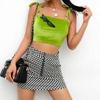 chaleco verde para niñas al por mayor-Hot New Sexy Womens Green Strap Bandeau Stretch Vest Crop 2019 Summer sin mangas Top Girls Clothes Club Party Outwear