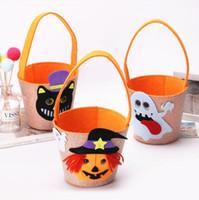 korb kinder großhandel-Halloween Basket Maskerade Party Vliestuch Tasche Gespenst Schädeldruck Aufbewahrungstasche Kinder Candy Basket Handtasche LJJA3048