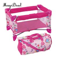 cunas de metal para bebés al por mayor-Simulación de Baby Dolls Cama de cuna con bolsa de transporte Los niños fingen juguetes para la habitación del cuarto de niños decoración de muebles de color rosa