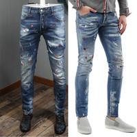 hommes portant des pantalons bas achat en gros de-Hommes Sexy Twist Imprimé Taille Basse jeans Bouton Mouche Usé Effet Vintage Denim Pants Graffiti Style
