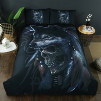 Wholesale twin wolf print bedding sets online - 2 D Bedding Set Duvet Cover Pillowcase Wolves Skull Duvet Cover Set pillowcase Bedroom Home Textile