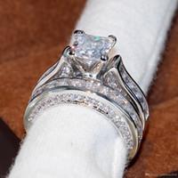 nachahmung verlobung ringe weißgold großhandel-Key4fashion Wieck Vintage Schmuck 14KT Weißgold Gefüllt Prinzessin Cut Square Topaz CZ Diamant Frauen Hochzeit Engagement Braut Ring Set Geschenk
