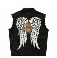 ingrosso giacca d'angelo delle ali-Giacche da motociclista da uomo in denim nero da uomo, gilet senza maniche, gilet, ali d'angelo, ricamato, riflettente, luminoso, abbigliamento