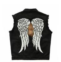 engel flügel jacke groihandel-Herren Black Denim Biker Motorrad Jacken Sleeveless Wing Patches Weste Angel Wings bestickte reflektierende leuchtende Kleidung